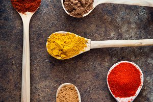 Spices in spoons