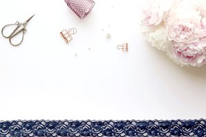 Styled photo - peonies, lace ribbon