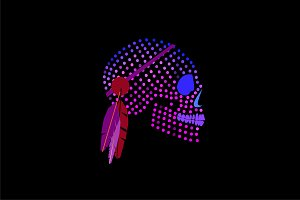 Purple skull icon with dots, ornamen