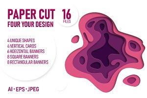 Purple paper cut banners