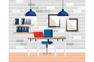 workplace office scene icon