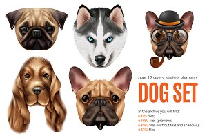 Dog Portraits Realistic Set
