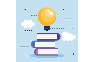 bulb light idea with books