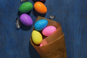 Multicolored Easter eggs and