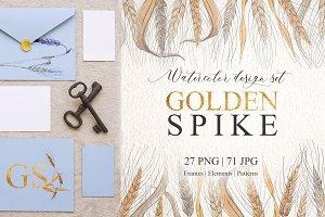 Spike Watercolor design set png