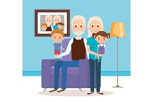 grandparents with grandchildren in