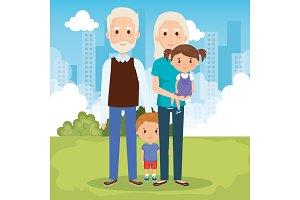 grandparents with grandchildren in