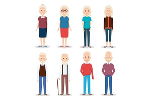 cute grandparents group characters