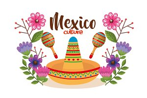 mexican culture hat and maracas