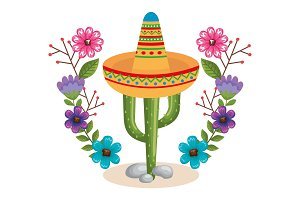 mexican culture cactus and hat