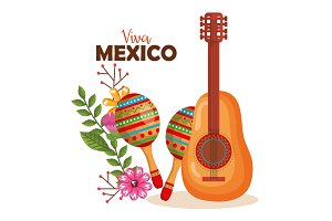 mexican culture guitar and maracas