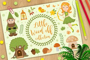 Cute forest elf character set of