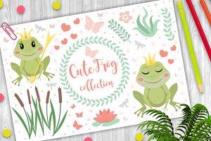 Cute frog princess character set of