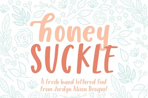 Honey Suckle Hand Lettered Font