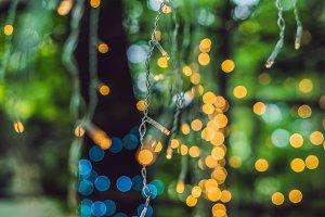 LED lights garland, colorful light