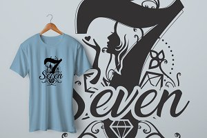 Seven female t-shirt design