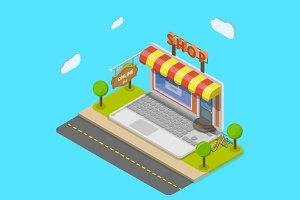 Online shop isometric concept