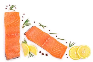 fillet of red fish salmon with lemon