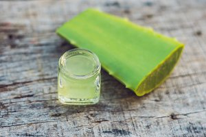 Slices of a aloe vera leaf and a