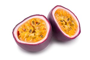 half of passion fruits isolated on