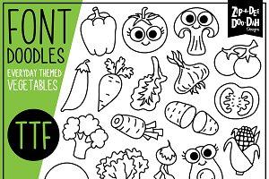 Vegetables Doodle Font