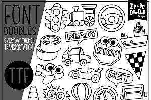 Transportation Doodle Font
