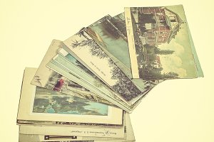 Display of old postcards