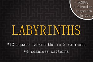 Vector labyrinths set