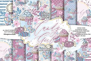 Candy Girl digital paper pack