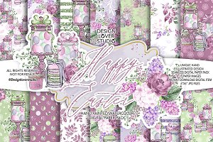 Happy Easter  digital paper pack