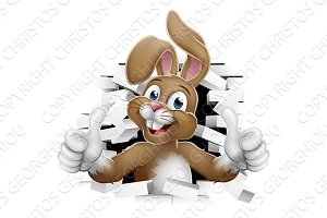 Easter Bunny Thumbs Up Coming Out of