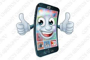 Cell Mobile Phone Mascot Cartoon