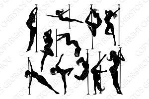 Pole Dancer Women Silhouettes Set