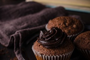 Homemade chocolate muffins with choc