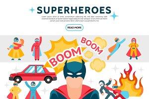 Flat superheroes elements set