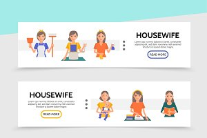 Flat housewife life banners