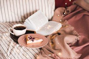 Tasty breakfast in bed