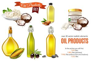 Cooking Oil Realistic Set