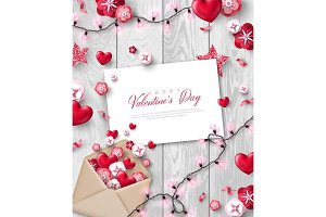 Valentines day objects with envelope