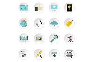 SEO icons set, flat style
