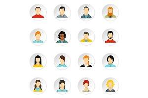 People icons set, flat style