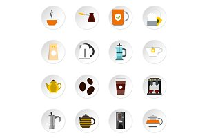 Coffee and tea icons set, flat style