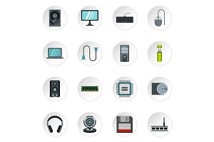 Computer equipment icons set, flat