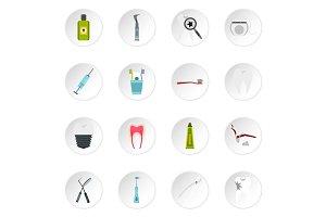 Stomatology icons set, flat style