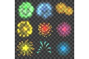 Fireworks concepts set, realistic