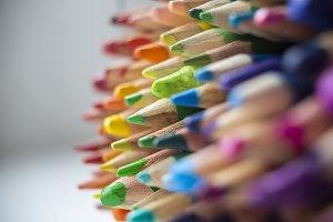 Rainbow Crayons Closeup Sharp Green