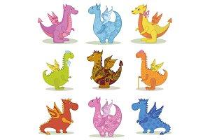 Set cartoon Dragons