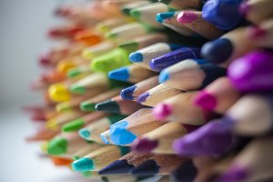 Rainbow Crayons Closeup - Sharp Blue
