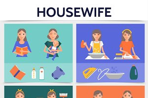 Flat housewife life square concept