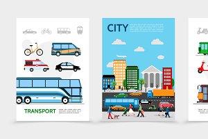 Flat city transport posters
